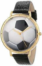 Whimsical Watches Unisex N0840007 Gold-tone Soccer Lover Black Leather NEW!!