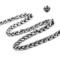 Silver black necklace solid stainless steel twisted Chain 56cm soft gothic