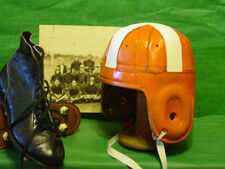 1940 Oklahoma State Leather Football Helmet Old Cowboys Orange and White leather