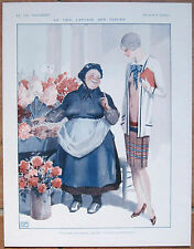 LEONNEC 1928 La Vie Parisienne Print ART DECO FLAPPER GIRL & FLOWER SELLER