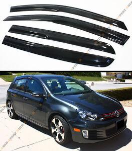 FOR 2010-14 MK6 VI VW GOLF R GTI HATCHBACK SMOKE TINTED WINDOW VISOR GUARD SHADE