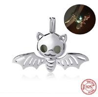 100% 925 Sterling Silver Cute Bat Glowing Beads Charm pandora