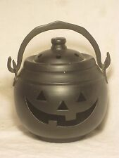 Hosley black Metal Pumpkin Cauldron Candle Holder Halloween w/ lid approx. 6""