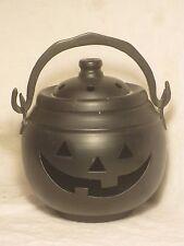 "Hosley black Metal Pumpkin Cauldron Candle Holder Halloween w/ lid approx. 6"""