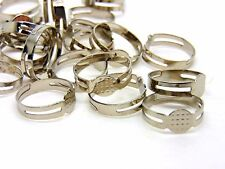 50 x Antique Silver Colour Adjustable Ring Blanks 8mm Flat Pad Glue R72