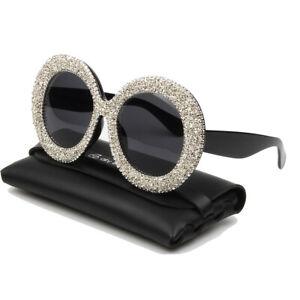New Classic Round Sunglasses Women Fashion Shiny Rhinestone Shades Party Eeywear