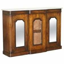 ORIGINAL REGENCY WALNUT & MARBLE CREDENZA SIDEBOARD CUPBOARD MIRRORED DOORS