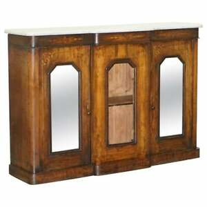 ORIGINAL REGENCY WALNUT & MARBLE CREDENZA SIDEBOARD CUPBOARD MIRRORED DOORS