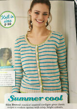 KNITTING PATTERN Ladies Striped Cardigan Long Sleeve Scoop Neck Nautical DK