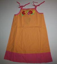 NUEVO Hanna ANDERSSON verano Popelina Naranja Rosa Vestido talla 130 OR 8 9 10