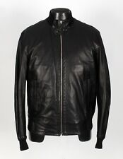 ERMENEGILDO Z ZEGNA LEATHER Bomber Jacket - Black - 50 / Medium
