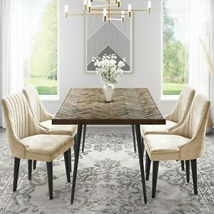 Arno Herringbone Dining Table with 4 Beige Velvet Dining Chairs