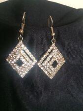 Pierced Gold Diamond Crystal RHINESTONE Chain Dangle Chandler EARRINGS Art Deco