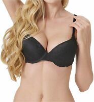 Push Up Bra for Women Demi Cup Padded Underwire Supportive Add, Black, Size 40C