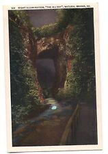 NIGHT ILLUMINATION The 6th DAY Natural Bridge Virginia Postcard VA White Border