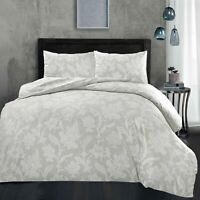 Chambray Floral Quilt Duvet Cover Set Single Double Super King Bedding Grey