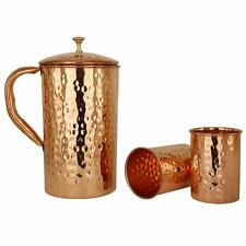 Pure Copper Handmade 1 Jug with 2 Hammered Glass