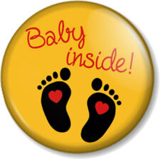 """BABY INSIDE 1"""" Pin Button Badge Pregnant Mother Mum to Be Shower gift - Yellow"""