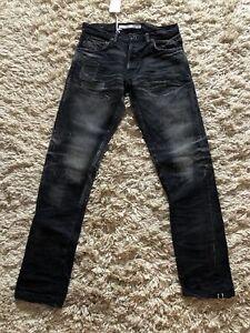Mastercraft Union Premium Denim Jeans Japanese Selvidge Distressed W33 Slim Leg