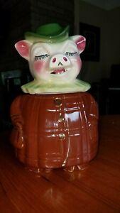 Shawnee Winnie Pig bank / cookie jar with gold trim