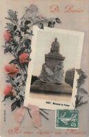 """CPA. - photo d'Art - Je vous envoie des fleurs """"souvenir de Paris"""""""
