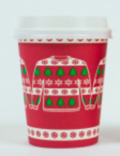50 x 8oz Christmas ''JUMPACUP'' Disposable Paper Coffee Cup with White Lids