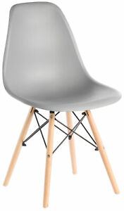 Mid-Century Modern Style Plastic DSW Shell Dining Chair with Beech Wooden Legs