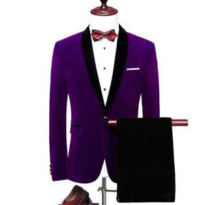 Men's Purple Velvet Jacket Groom Tuxedos Suit Blazers Formal Wedding Prom Suit