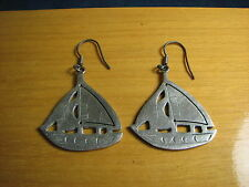 Vintage Sterling 925 Taxco Mexico TO-54 Sailboat Boat Ship Dangle Earrings HTF