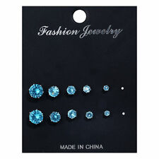 5 Pairs/Set Crystal Stud Earrings for Women Small to Big Cubic Zircon Earrings