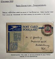 1935 Radio Exhibition Johannesburg South Africa Airmail Postcard Cover