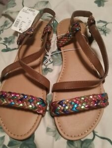 Justice Sandals size 5 woven foil multicolor and brown