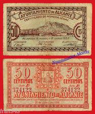 Billete local Ayuntamiento ALICANTE 50 centimos 1937 - MBC /  VF