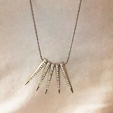 LC Lauren Conrad Gold Tone Spikes Necklace Encrusted Simulated Diamonds NWT New