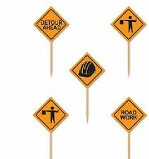 Beistle Construction Signs Picks 2 12-inch Orangeblack