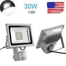 2x 30W Cool White PIR Motion Sensor LED Floodlight 110V Outdoor Lamp Spotlights