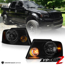 "2004-2008 Ford F150 ""SINISTER BLACK"" Smoke Head Lights Headlamps PAIR Assembly"