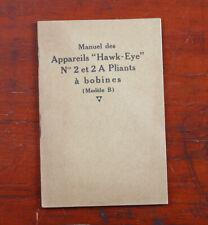 KODAK PATHE NO. 2 + 2A HAWK-EYE PLIANTS MODEL B INSTRUCTION BOOK/cks/204482