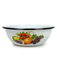White Enameled Mixing Bowl w/ Fruit Decal. Cereal Soup/ Deep Salad Plate 1.5 L