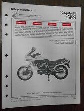 Vintage Honda Factory Set-Up Instructions  Manual 1983 CX650T 583C