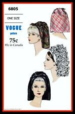 SCARF HAT CHEMO Alopecia Vintage 60's VOGUE 6805 Fabric Material Sewing Pattern