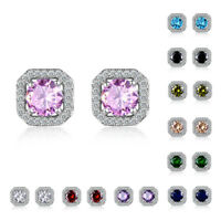 6mm Round Zircon Birthstone Square Ear Studs Fashion Earrings White Gold Filled