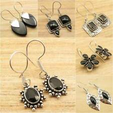 Pick Your Choice !! Natural BLACK ONYX Earrings ! Silver Plated Fashion Jewelry