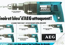 PUBLICITE ADVERTISING  016  1981  AEG  perceuse 900 Powermatic (2p) Noir & Bleu