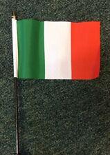 "Italy Hand Flag 6x4"" on a 10"" 25cm stick italia Italian Rome Roma Pizza Pasta"