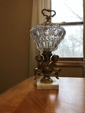 New listing 15� Crystal and Brass Cherub w/ Square Marble Base Covered Compote Candy Dish