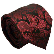 Black Men Tie With Red Paisley Wedding Business Office Prom Formal Men Necktie