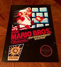 "Super Mario Bros NES box art retro video game 24"" poster print nintendo 80s"