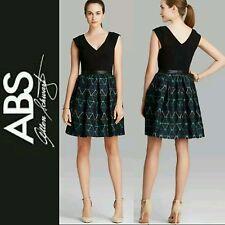 $250 ABS BY ALLEN SCHWARTZ Black Multi Pattern Fit & Flare LBD Dress~12 M3020