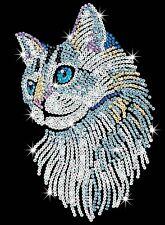 KSG Sequin Art Original Paillettenbild Weiße Katze Tiermotiv 1711